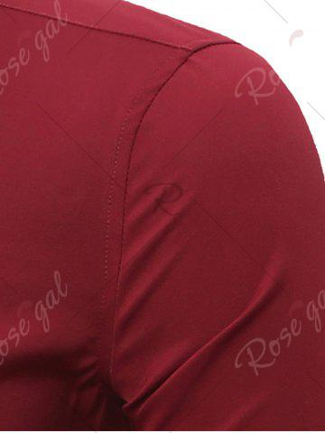Unique Embroidery Turndown Collar Long Sleeve Shirt - 3XL WINE RED Mobile