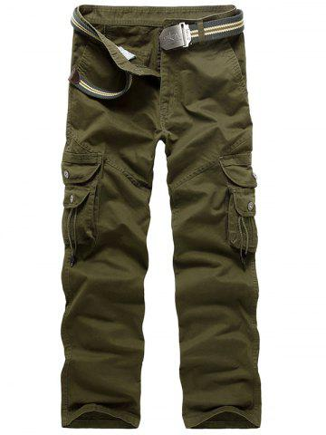 Zip Fly String Pocket Cargo Pants Vert Armée 34