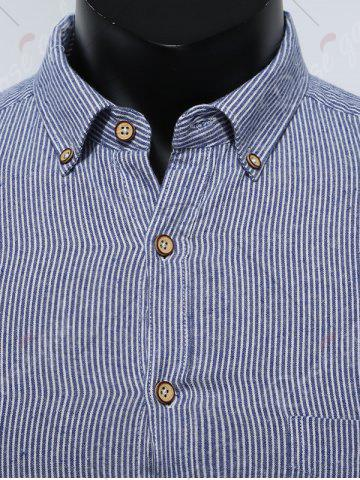 Shop Button Down Striped Pocket Shirt - 5XL DEEP BLUE Mobile
