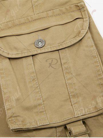 Unique Zip Fly String Pocket Cargo Pants - 38 COFFEE Mobile