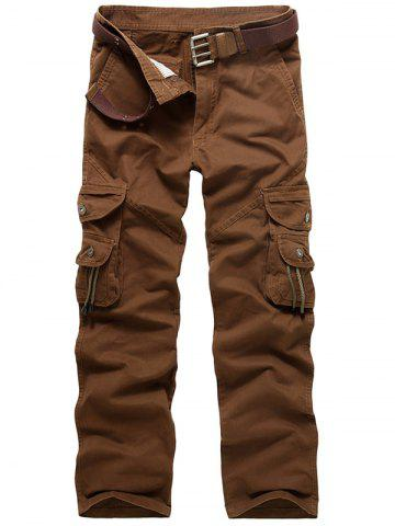 Zip Fly String Pocket Cargo Pants Café 32