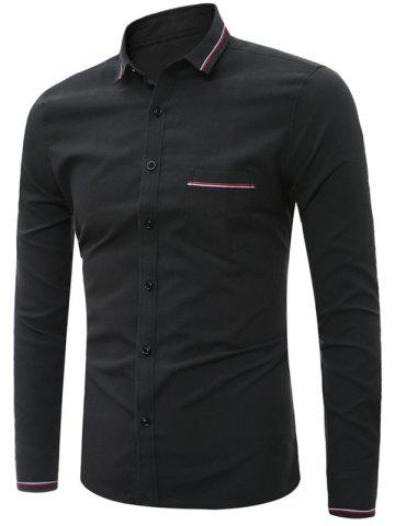 Outfit Stripe Detail Long Sleeve Pocket Shirt - 4XL BLACK Mobile
