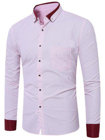 Latest Button Down Dots Print Pocket Shirt - 43 LIGHT PINK Mobile