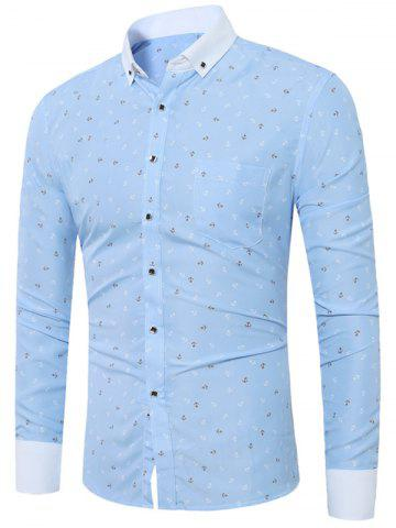 Outfit Anchor Print Button Down Pocket Shirt - 40 CLOUDY Mobile