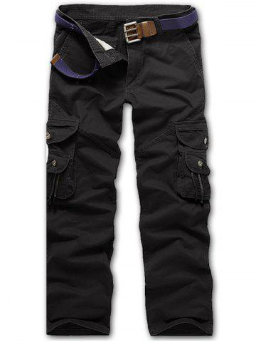 Fancy Zip Fly String Pocket Cargo Pants BLACK 36