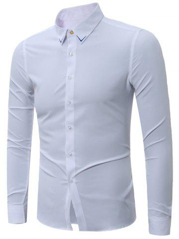 Store Embroidery Turndown Collar Long Sleeve Shirt - 3XL WHITE Mobile