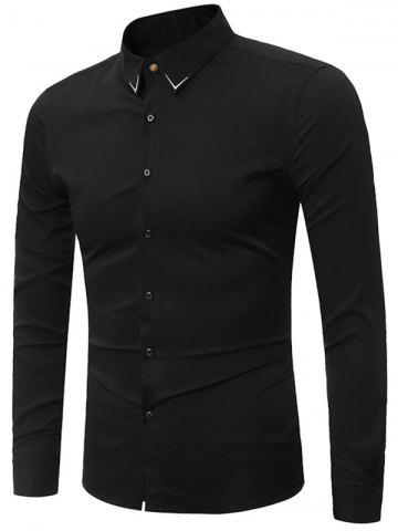 Trendy Embroidery Turndown Collar Long Sleeve Shirt - 3XL BLACK Mobile