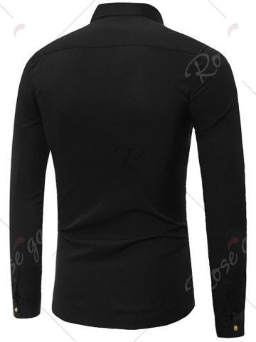 Buy Embroidery Turndown Collar Long Sleeve Shirt - 3XL BLACK Mobile