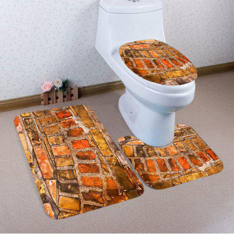 Chic 3Pcs Brick Wall Nonslip Toilet Bathroom Mat - EARTHY  Mobile
