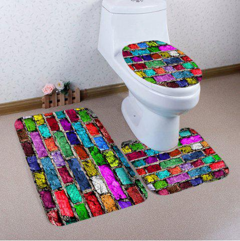 Buy Colorful Brick Wall Printed Nonslip 3Pcs Toilet Bathroom Mat - COLORFUL  Mobile
