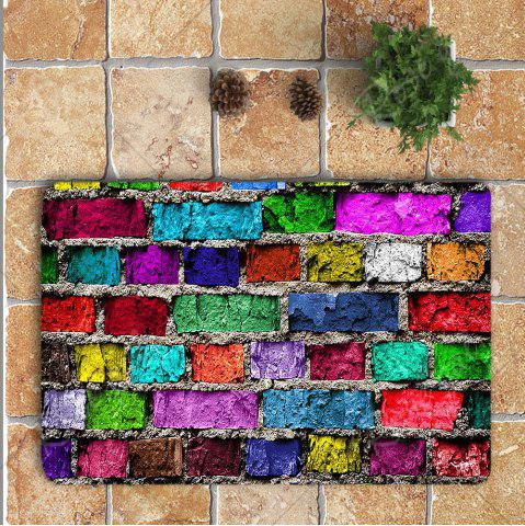 Fashion Colorful Brick Wall Printed Nonslip 3Pcs Toilet Bathroom Mat - COLORFUL  Mobile