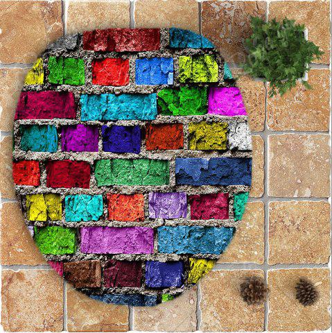Sale Colorful Brick Wall Printed Nonslip 3Pcs Toilet Bathroom Mat - COLORFUL  Mobile