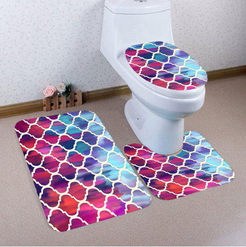 Unique Bohemia Geometric Pattern Nonslip 3Pcs Toilet Bath Mat COLORFUL