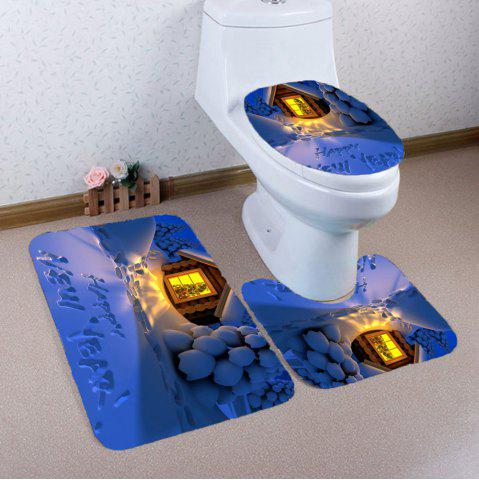 Fashion Christmas Snow Pattern Nonslip 3Pcs Bathroom Rugs Set - BLUE  Mobile