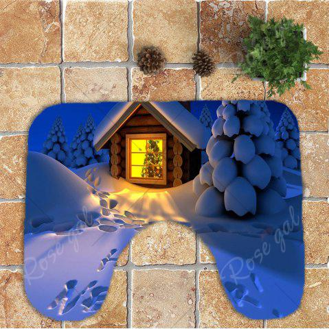New Christmas Snow Pattern Nonslip 3Pcs Bathroom Rugs Set - BLUE  Mobile