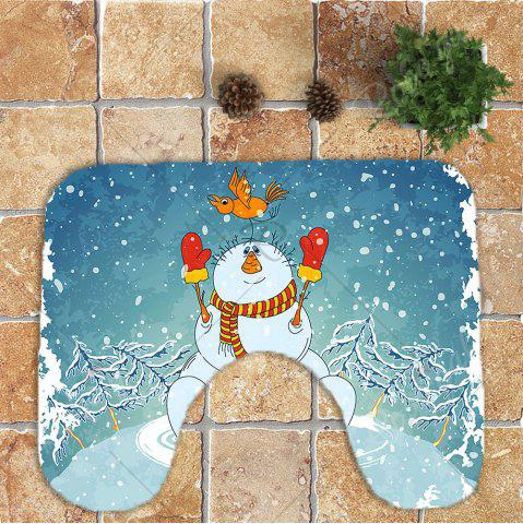 Trendy 3Pcs Christmas Snowman Pattern Bathroom Rugs Set - BLUE AND WHITE  Mobile