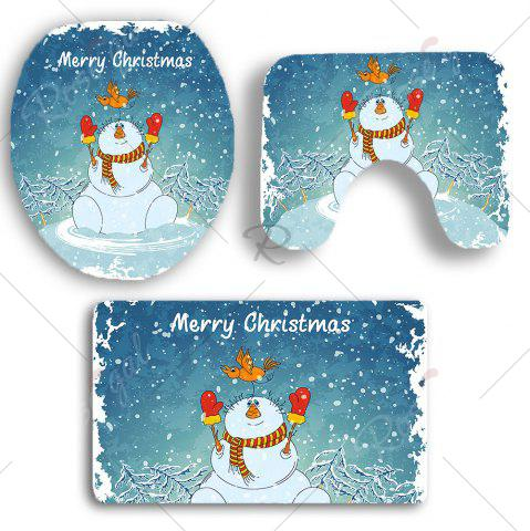 Sale 3Pcs Christmas Snowman Pattern Bathroom Rugs Set - BLUE AND WHITE  Mobile