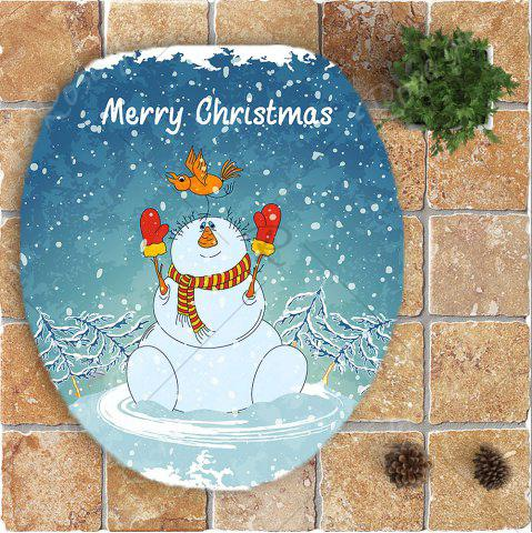 Shop 3Pcs Christmas Snowman Pattern Bathroom Rugs Set - BLUE AND WHITE  Mobile