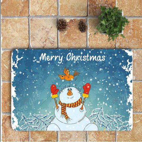 New 3Pcs Christmas Snowman Pattern Bathroom Rugs Set - BLUE AND WHITE  Mobile