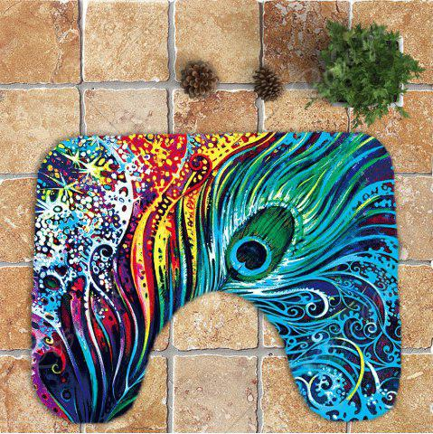 Hot Nonslip Peacock Feathers Printed 3Pcs Bathroom Rugs Set - COLORFUL  Mobile