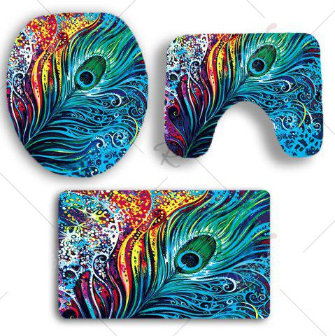 Trendy Nonslip Peacock Feathers Printed 3Pcs Bathroom Rugs Set - COLORFUL  Mobile