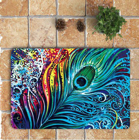 Shop Nonslip Peacock Feathers Printed 3Pcs Bathroom Rugs Set - COLORFUL  Mobile