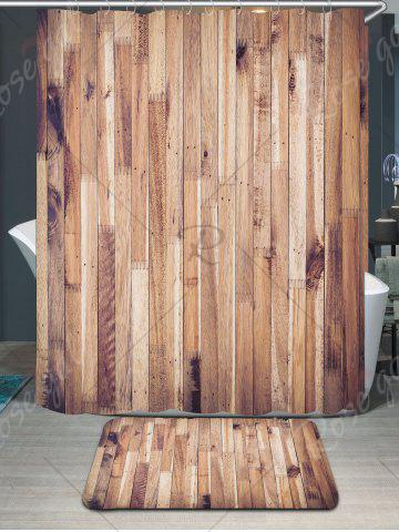 New Waterproof Wood Grain Shower Curtain and Rug - W59 INCH * L71 INCH WOOD Mobile