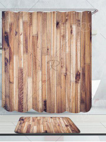 Trendy Waterproof Wood Grain Shower Curtain and Rug - W71 INCH * L71 INCH WOOD Mobile