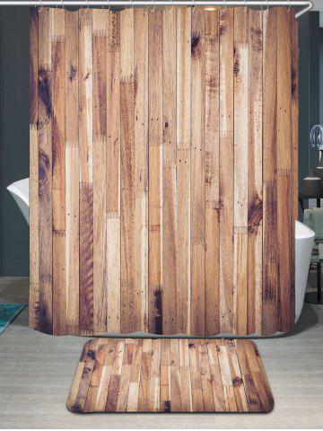 Outfits Waterproof Wood Grain Shower Curtain and Rug - W71 INCH * L71 INCH WOOD Mobile