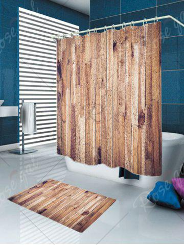 Trendy Waterproof Wood Grain Shower Curtain and Rug - W79 INCH * L71 INCH WOOD Mobile