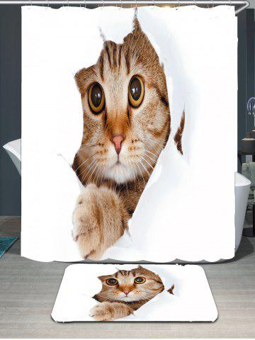 Shop Cat Printed Waterproof Bath Curtain Carpet Set - W71 INCH * L71 INCH GRAY Mobile