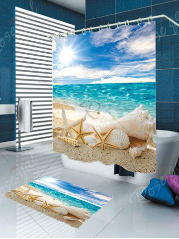 Fancy Conch Shells Beach Waterproof Shower Curtain Rug Set - W79 INCH * L71 INCH BLUE Mobile