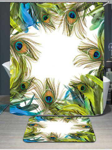 Trendy Peacock Feathers Waterproof Carpet Bath Curtain Set - W71 INCH * L71 INCH GREEN Mobile