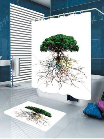 Fancy Waterproof Tree Bia Root Printed Shower Curtain and Rug - W59 INCH * L71 INCH GREEN Mobile