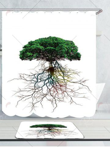 Store Waterproof Tree Bia Root Printed Shower Curtain and Rug - W59 INCH * L71 INCH GREEN Mobile