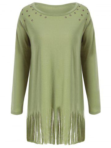 Latest Fringed Eyelet Longline Plus Size Top