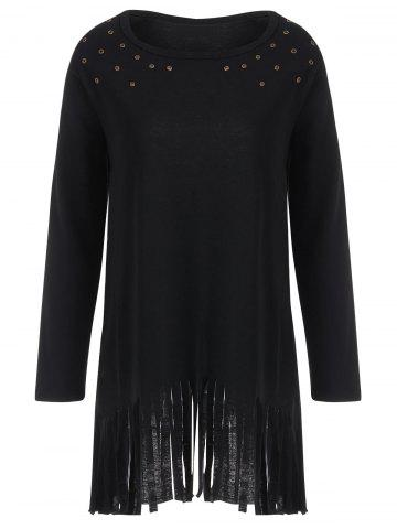 Hot Fringed Eyelet Longline Plus Size Top - 2XL BLACK Mobile