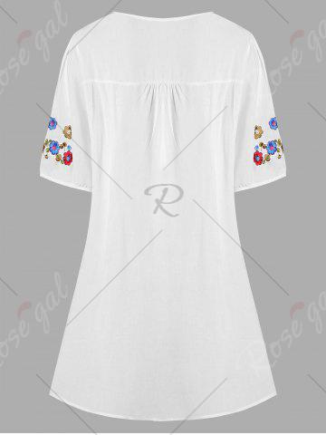 Sale Plus Size Floral Embroidered Tunic Top - XL WHITE Mobile