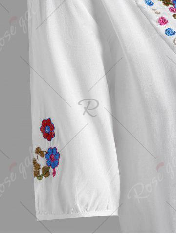 Store Plus Size Floral Embroidered Tunic Top - XL WHITE Mobile