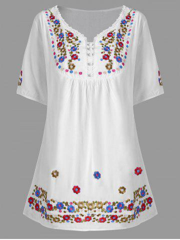 Cheap Plus Size Floral Embroidered Tunic Top - XL WHITE Mobile