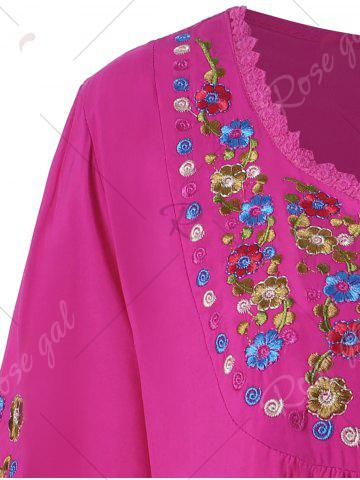 Hot Plus Size Floral Embroidered Tunic Top - 3XL ROSE RED Mobile
