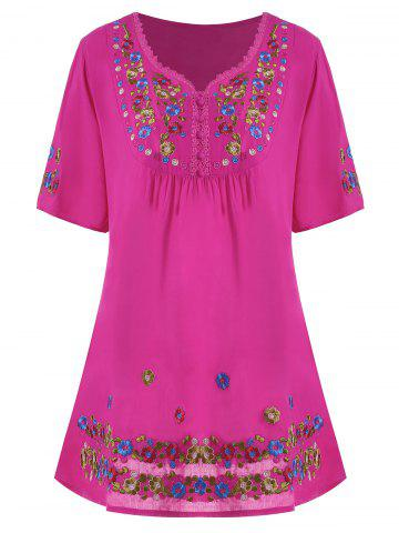 Store Plus Size Floral Embroidered Tunic Top - 3XL ROSE RED Mobile