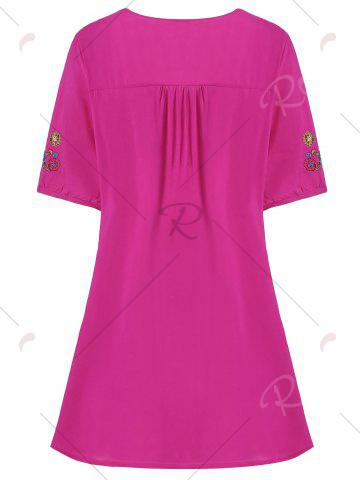 Shop Plus Size Floral Embroidered Tunic Top - 3XL ROSE RED Mobile