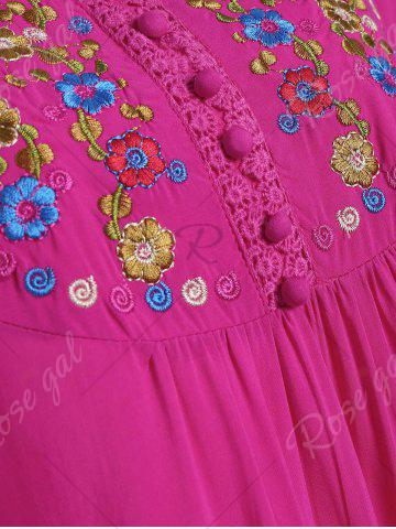 Cheap Plus Size Floral Embroidered Tunic Top - 3XL ROSE RED Mobile