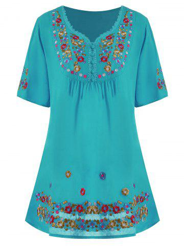 Best Plus Size Floral Embroidered Tunic Top - 3XL LAKE BLUE Mobile