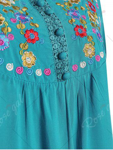 Fancy Plus Size Floral Embroidered Tunic Top - 3XL LAKE BLUE Mobile