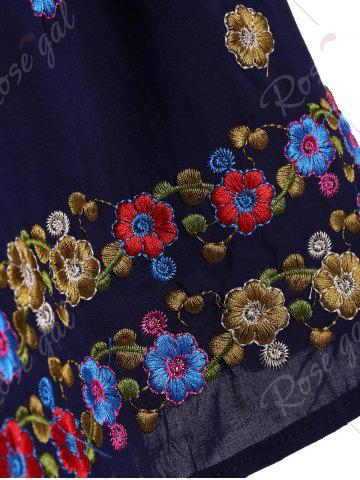 Fashion Plus Size Floral Embroidered Tunic Top - 3XL PURPLISH BLUE Mobile