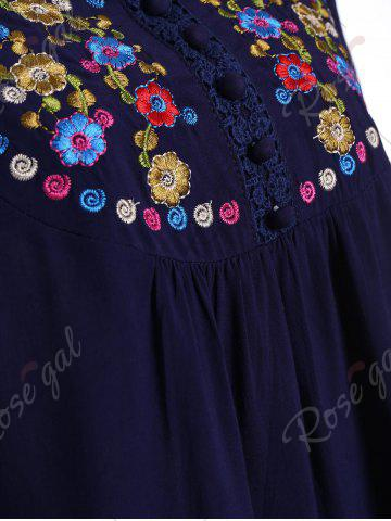 Hot Plus Size Floral Embroidered Tunic Top - 3XL PURPLISH BLUE Mobile