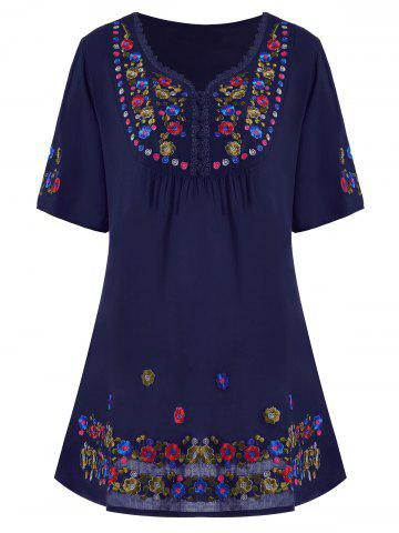 Fancy Plus Size Floral Embroidered Tunic Top - 3XL PURPLISH BLUE Mobile