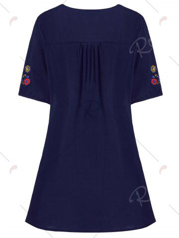 Store Plus Size Floral Embroidered Tunic Top - 3XL PURPLISH BLUE Mobile